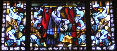 Stained Glass representation of the Sacrament of the Sick
