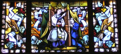 Stained Glass representation of the Sacrament of Confession